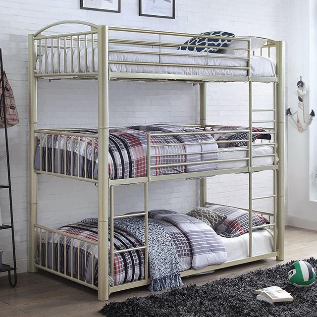 CM-BK655 Bettina metallic gold finish metal triple twin convertible bunk bed set