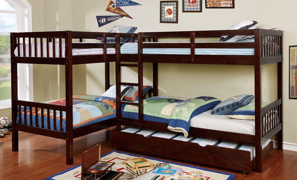 CM-BK904 Marquette quadruple twin bed twin/twin over twin/twin espresso finish wood bunk bed