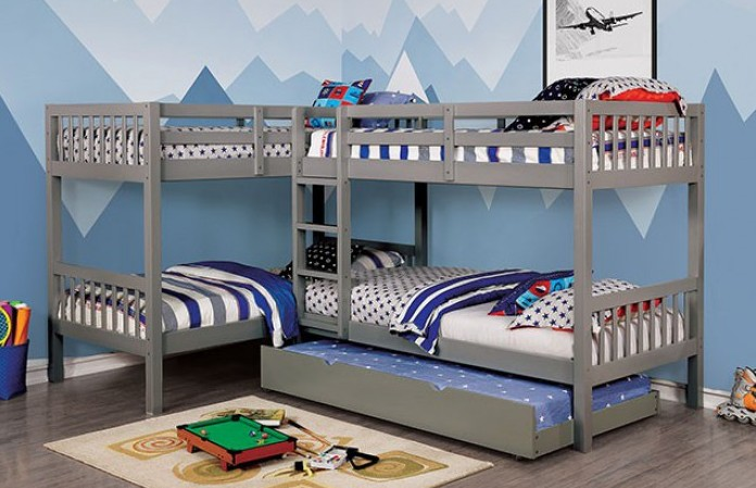 CM-BK904GY Marquette quadruple twin bed twin/twin over twin/twin gray finish wood bunk bed