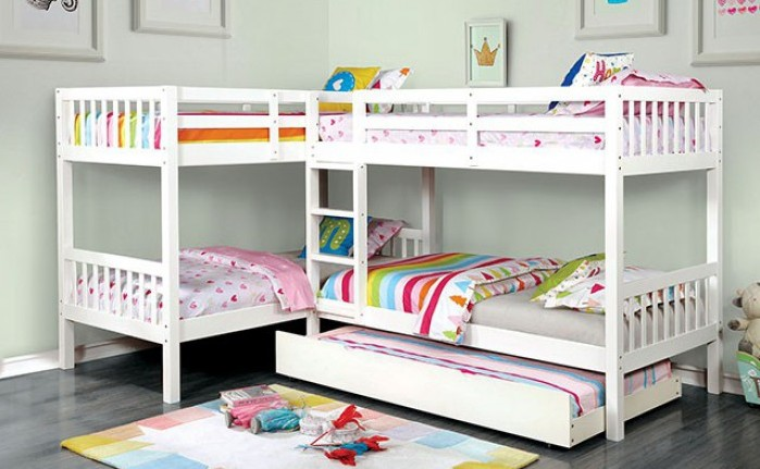 CM-BK904WH Harriet bee lyme quadruple twin bed twin/twin over twin/twin white finish wood bunk bed