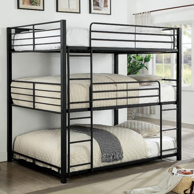CM-BK917F Carolyn triple full bunk bed full over full over full sand black metal frame industrial bunk bed
