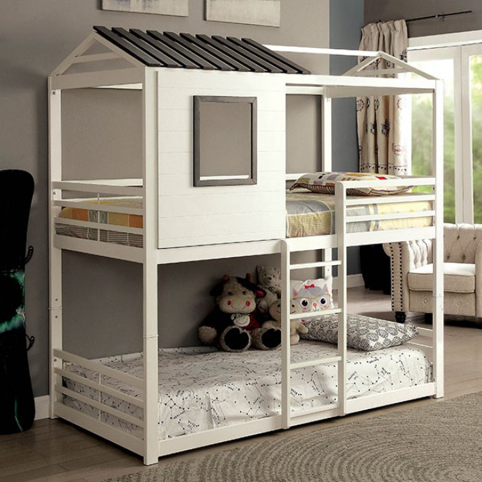 CM-BK935 Zoomie kids adcock stockholm gray and white finish metal loft play house design twin size bunk bed