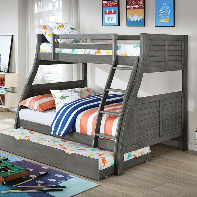CM-BK963GY Hoople gray finish wood twin over full plank panel style bunk bed with reversible ladder