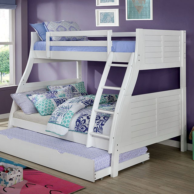 CM-BK963WH Hoople white finish wood twin over full plank panel style bunk bed with reversible ladder