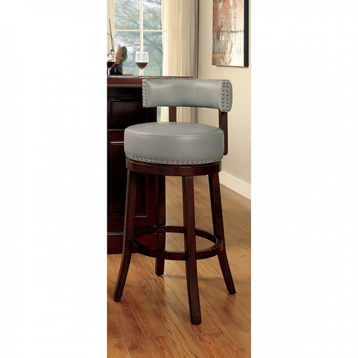 CM-BR6251-24-GY Set of 2 shirley gray faux leather and dark oak finish wood counter height bar stools
