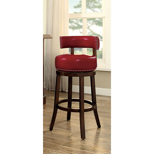 CM-BR6251-24-RD Set of 2 shirley red faux leather and dark oak finish wood counter height bar stools