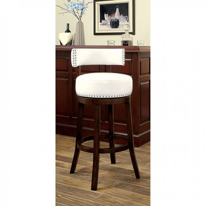 CM-BR6251-24-WH Set of 2 shirley white faux leather and dark oak finish wood counter height bar stools