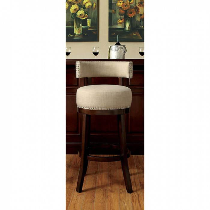 CM-BR6252BG Set of 2 lynsey beige linen like fabric and dark oak finish wood bar stools