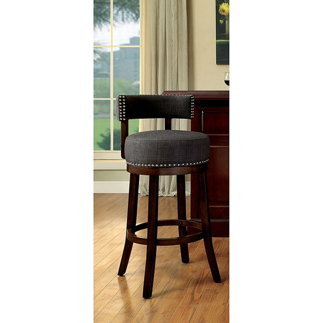 CM-BR6252-24-GY Set of 2 lynsey gray linen like fabric and dark oak finish wood counter height bar stools