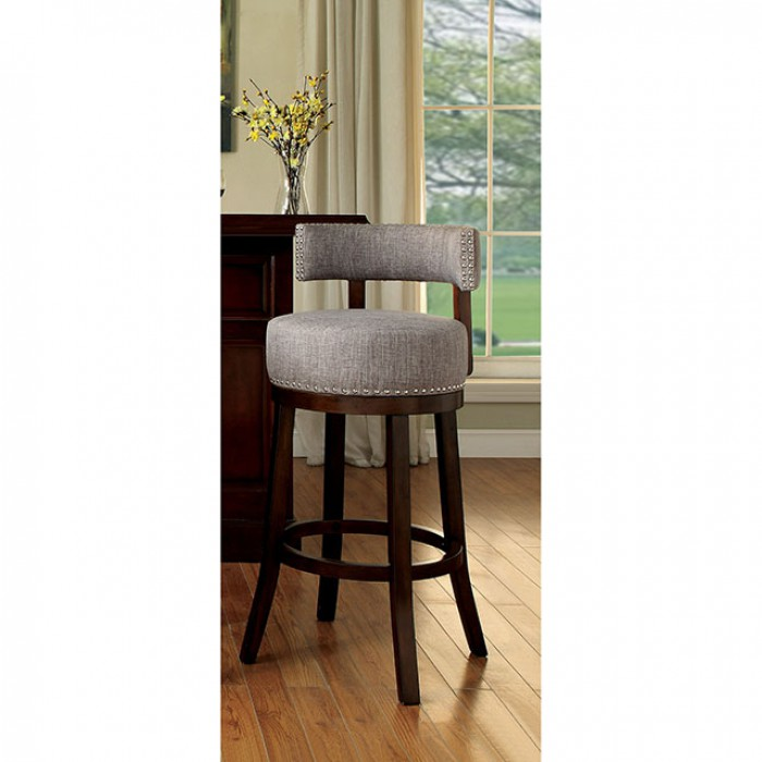 CM-BR6252LG Set of 2 lynsey light gray linen like fabric and dark oak finish wood bar stools