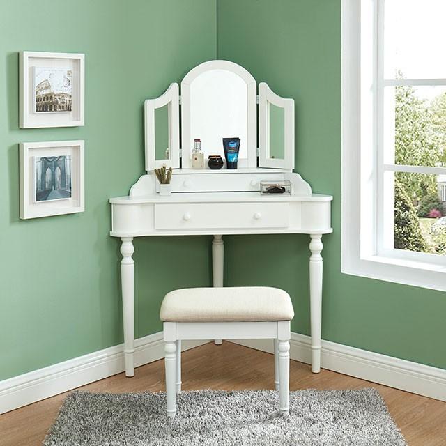 CM-DK5849WH 3 pc House of hampton castiel kasey white finish wood corner shaped make up bedroom vanity set