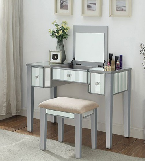 CM-DK6385SV 2 pc Rosdorf park salyer joyce silver finish wood make up bedroom vanity set