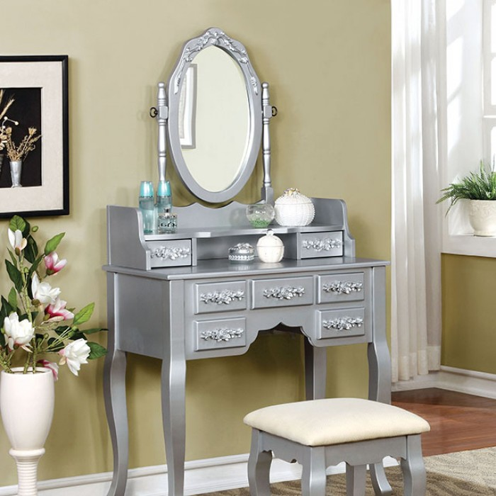 CM-DK6845SV 3 pc harriet transitional style silver finish wood bedroom make up vanity sitting table set with mirror
