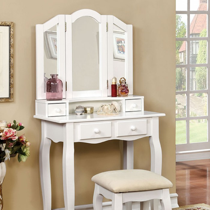CM-DK6846WH 3 pc janelle transitional style white finish wood bedroom make up vanity sitting table set with tri fold mirror