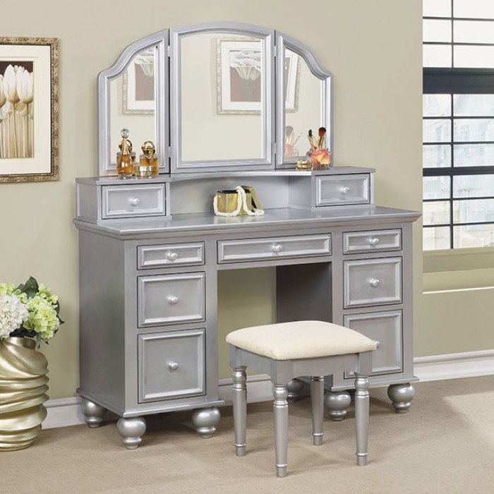 CM-DK6848SV 3 pc Rosdorf park sheffield athy silver finish wood make up bedroom vanity set