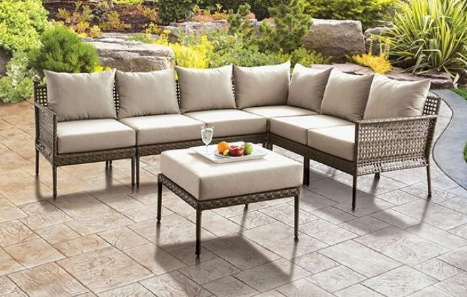 CM-OS2599 6 pc Latitude run eisenbarth Aleisha grey / beige faux wicker aluminum frame fabric cushions outdoor patio sectional set