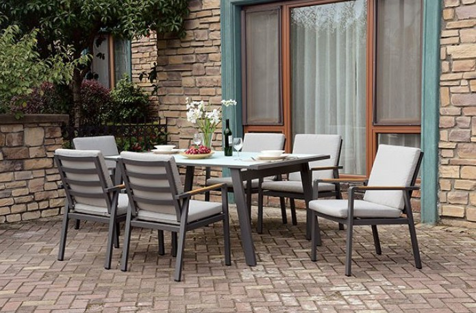 CM-OT2141 7 pc Rosecliff heights kurtz alycia grey metal frame tempered glass top patio table and chairs