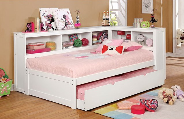CM1738WH-F Harriett bee frankie white finish wood full size day bed with bookcase headboards