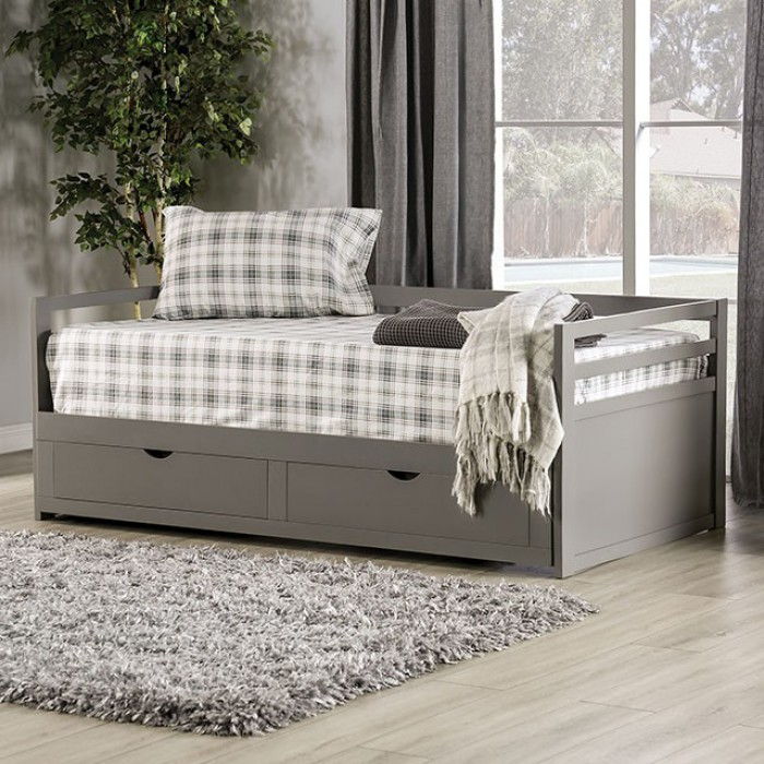 CM1745GY Harriet bee bechtold nancy gray finish wood extendable day bed and lower storage drawers