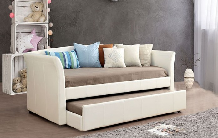 CM1956WH Canora grey layla white leather like vinyl day bed with slide out trundle