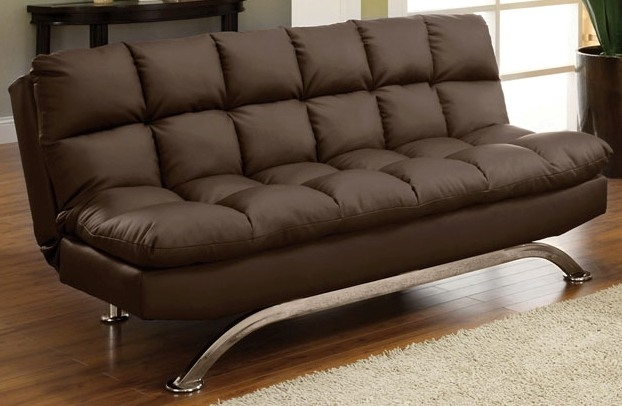 CM2906DK Aristo ii dark brown finish leatherette futon sofa with chrome finish support legs.