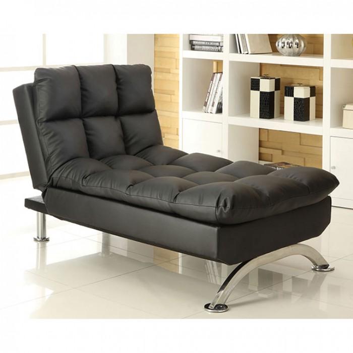 CM2906BK-CE Aristo iii black finish leatherette futon chaise with chrome finish support legs