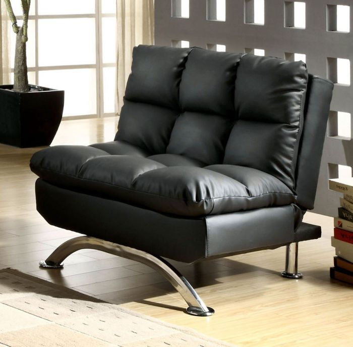 CM2906BK-CH Aristo ii black leatherette futon chair with chrome finish support legs
