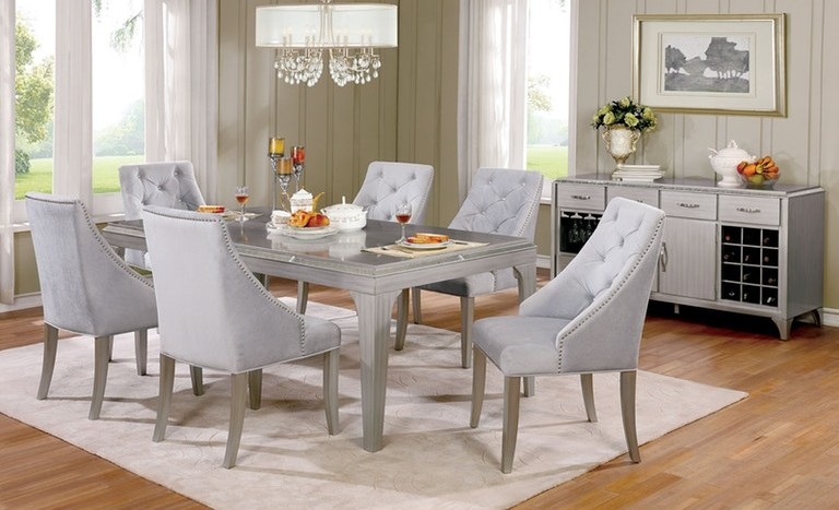 CM3020T 7 pc One allium way arthur diocles silver finish wood dining table set with antique mirror inserts