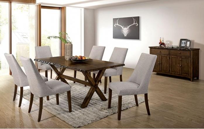 CM3114T-7PC 7 pc Gracie oaks vecinas woodworth walnut finish wood natural edge dining table set