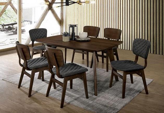 CM3139T-7PC 7 pc George oliver delatorre shayna mid century modern style gray walnut finish wood dining table set
