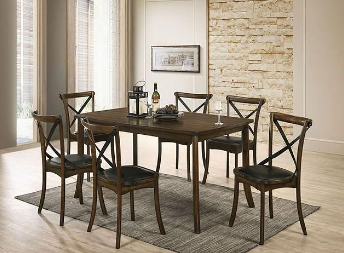 CM3148T-7PC 7 pc Gracie oaks Buhl I burnished oak finish wood dining table set