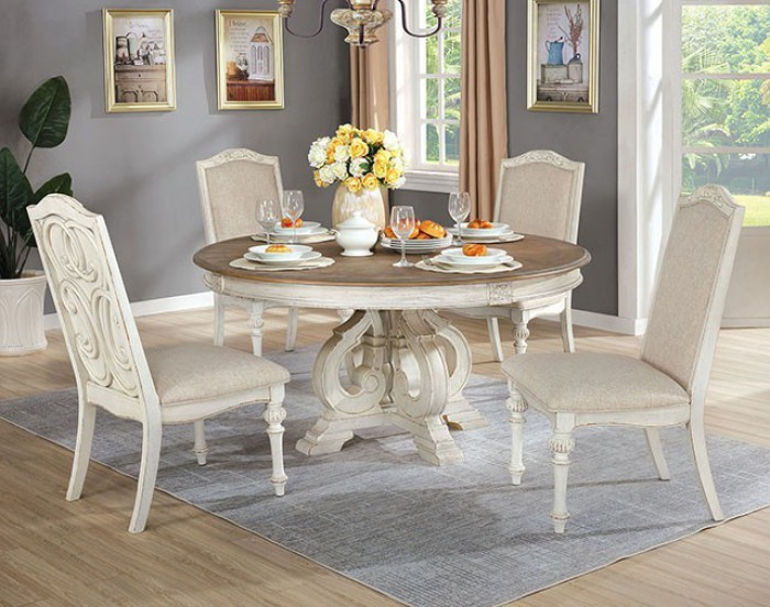 "CM3150WH-RT 7 pc August grove abbottstown arcadia antique white finish wood 60"" round dining table set"