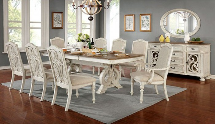 CM3150WH-T 9 pc August grove abbottstown arcadia rustic antique white finish wood trestle base dining table set