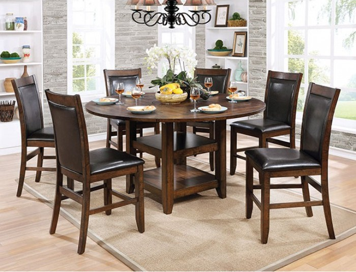 "CM3152RPT-7PC 7 pc Millwood pines mahle rustic brown cherry finish wood 65"" round drop leaf counter height dining table set"