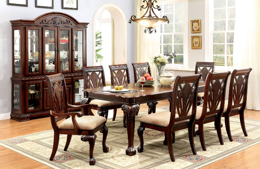 CM3185T 7 pc Fairbanks norwich petersburg i cherry finish wood dining table set with claw foot legs