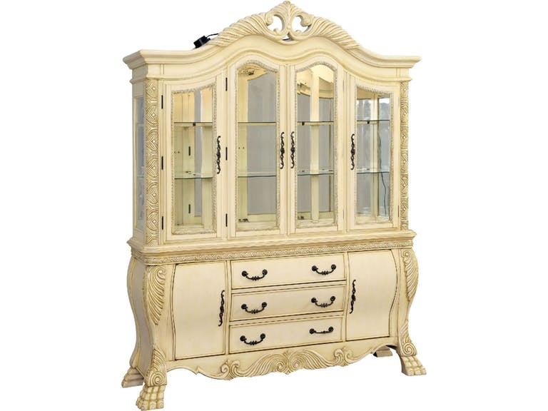 CM3186WH-HB Wyndmere antique white finish wood elegant formal style dining hutch and buffet