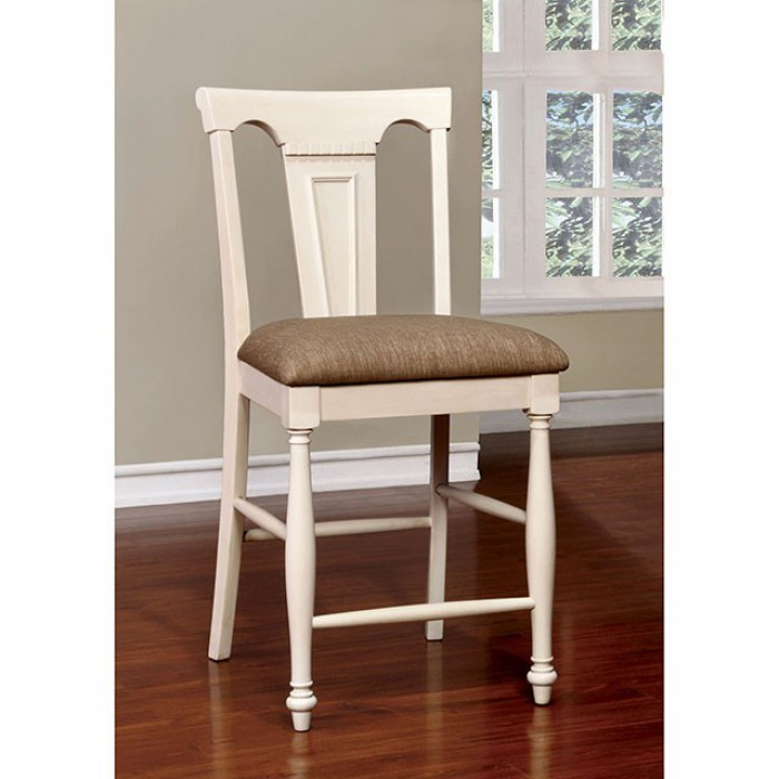 CM3199WC-PC-2PK Set of 2 sabrina country style antique white finish wood counter height chairs