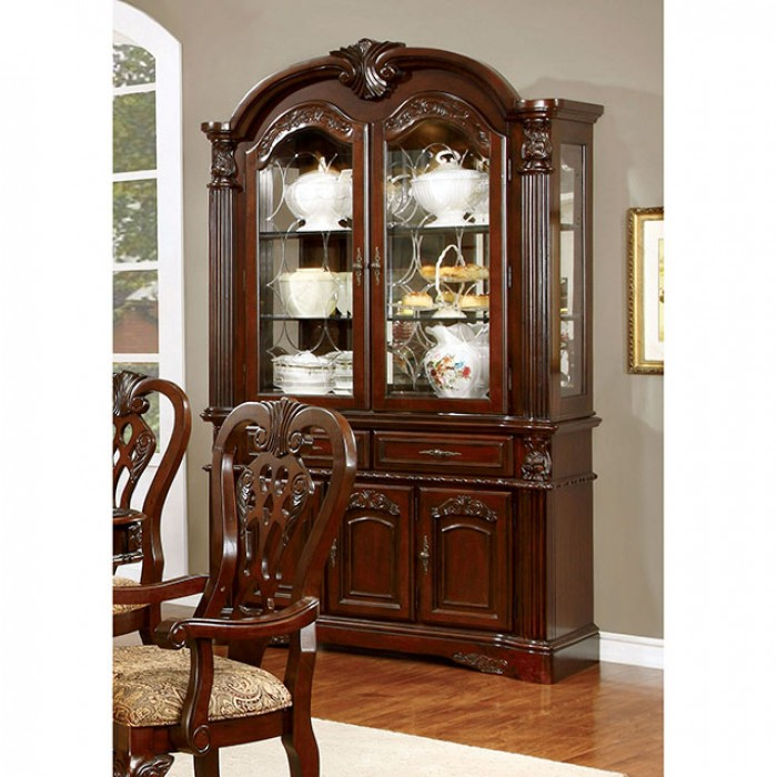 CM3212HB Elana traditional style brown cherry finish wood dining hutch and buffet cabinet