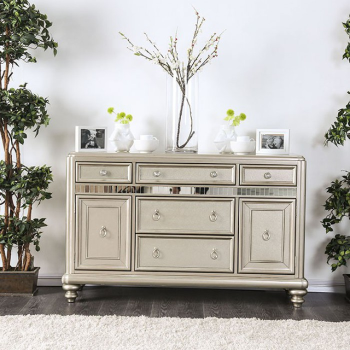 CM3239-SV Xandra champagne finish wood dining sideboard server console table