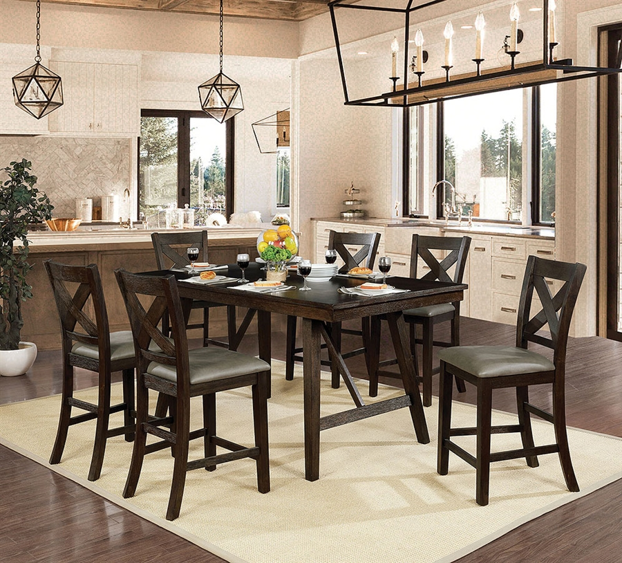 CM3344PT-7PC 7 pc Darby home co kenya bridgeville wire brushed rustic brown finish wood counter height dining table set