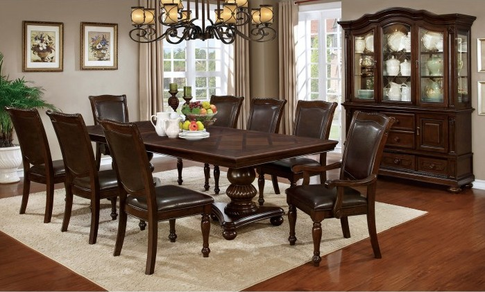 CM3350T-7pc 7 pc Alcott hill montcalm alpena brown cherry finish wood double pedestal dining table set