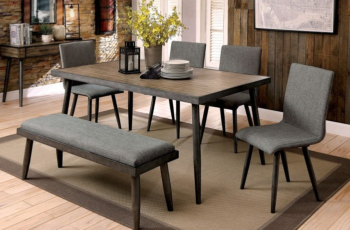 CM3360T-6PC 6 pc Brayden studio bryce vilhelm i mid century modern style gray finish wood dining table set