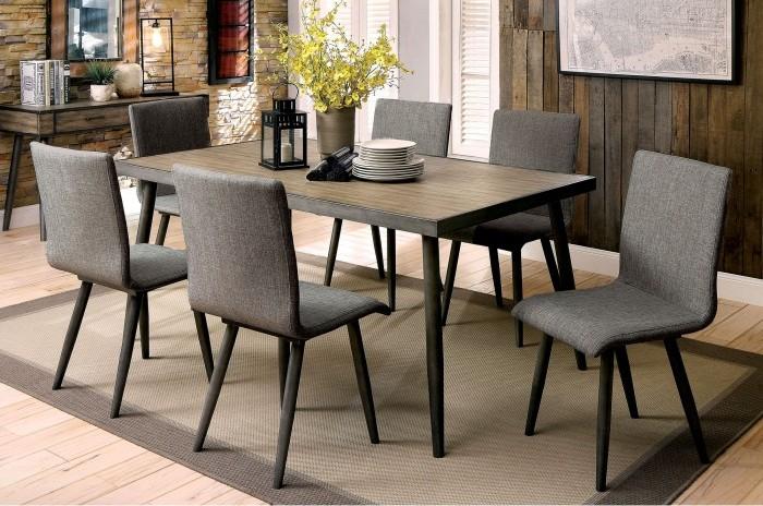CM3360T-7PC 7 pc Brayden studio bryce vilhelm i mid century modern style gray finish wood dining table set