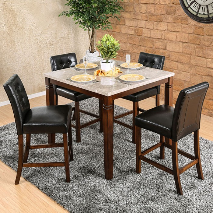 CM3368PT-5pc 5 pc Alcott hill cardwell marstone brown cherry finish wood marble top counter height dining table set