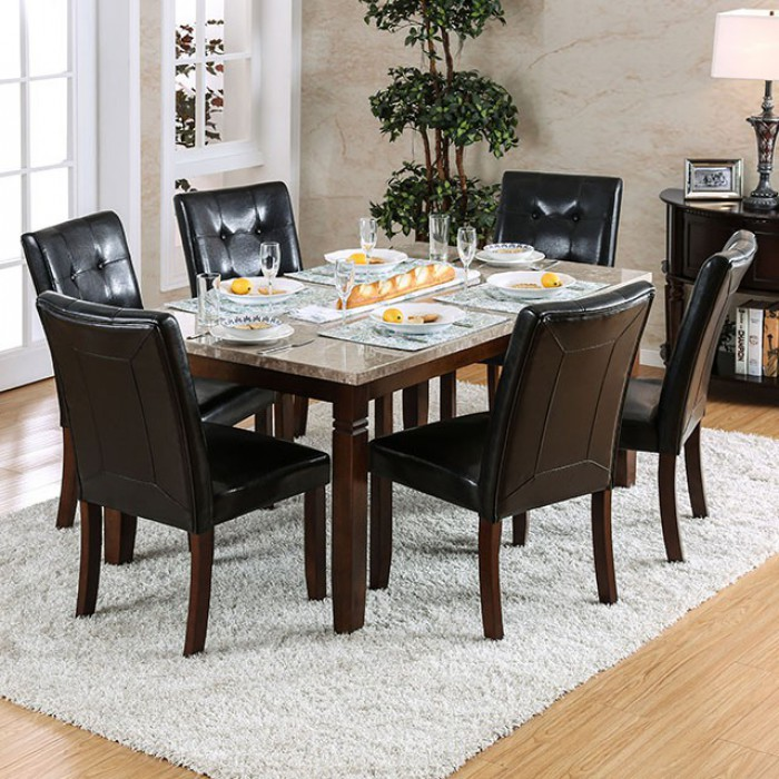 Furniture of america CM3368T-7pc 7 pc marstone collection brown cherry finish wood marble top dining table set