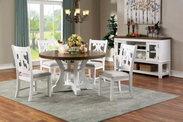 """CM3417RT-5PC 5 pc Gracie oaks auletta distressed white and dark oak finish wood 54"""" round country dining table set"""