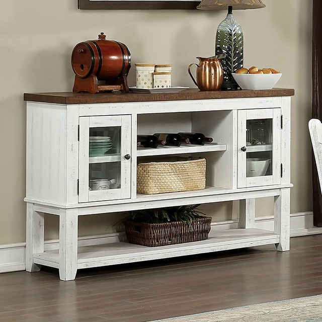 CM3417SV Gracie oaks auletta distressed white and dark oak finish wood server sideboard buffet cabinet