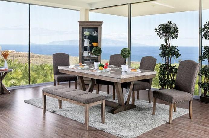 CM3429T-6PC 6 pc One allium way abigail bridgend natural finish wood trestle base marble top dining table set