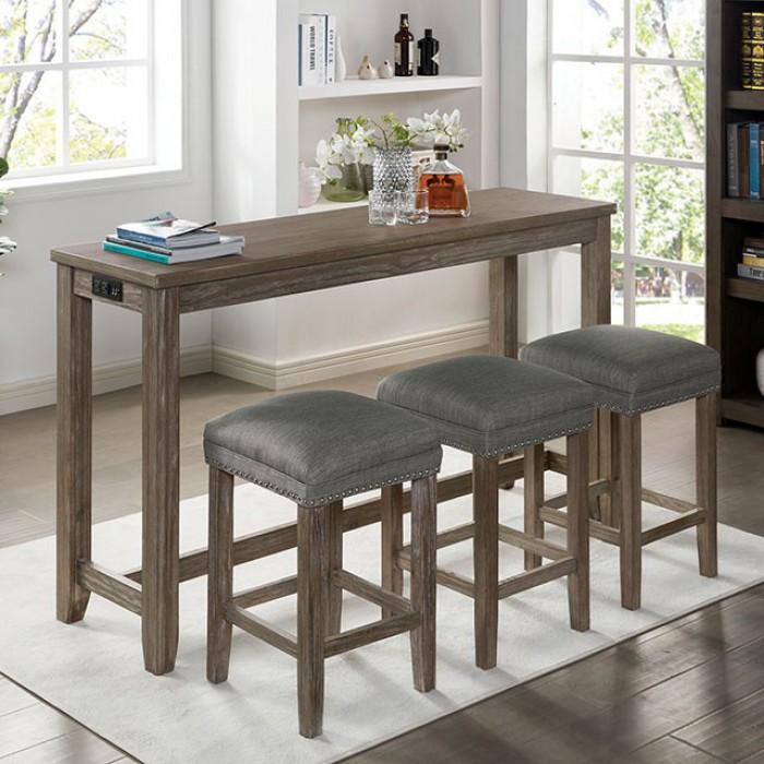 CM3474GY-PT-4PK 4 pc Topline caerleon grey finish wood padded seats counter height dining table set