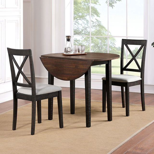 "CM3477RT-3PK 3 pc Gracie oaks veneta dark oak walnut finish wood 40"" round drop leaf breakfast bistro table set"